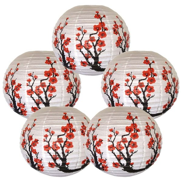 "5pcs/lot 16"" 40cm Flower Lanterns Sakura Chinese Japanese Festival Paper Lantern Balls Wedding Birthday Party Decoration Q190611"