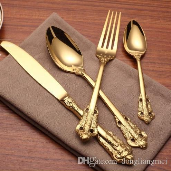 Vintage DLM2020 Western Gold Plated Dinnerware Dinner Fork Knife Set Golden Cutlery Set Stainless Steel 4 Pieces Engraving Tableware wn584
