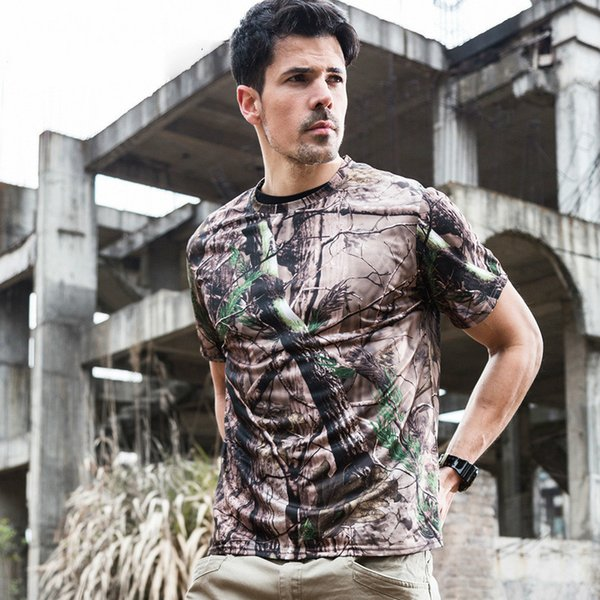 2019 Summer Quick Dry T-shirt Man Short Sleeve O Neck Tactical T-shirt Casual Breathable Army Camo Combat Tshirt