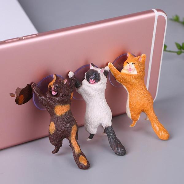 Cell Phone Holders Desk cat sucker mobile phone bracket cartoon cute kitten Suction phone holder Suitable for mobile phones 6 styles