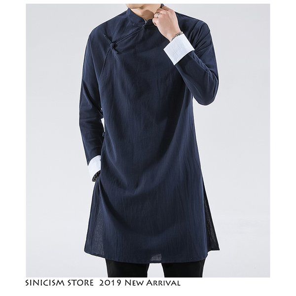 Sinicism Mağaza Erkekler Siyah Streetwearm Coat Erkekler 2019 Erkek Keten Ceket Uzun Coat Erkek Çince Style Harujuku Rüzgar Kırıcı