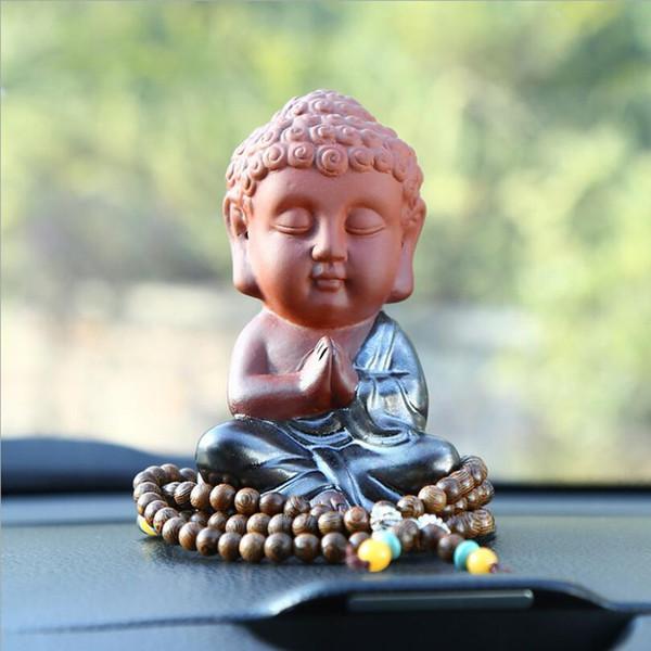 2019 seramik araba gibi süsler, Buda heykelleri, küçük keşiş çay, pet renk kum araba aksesuarları