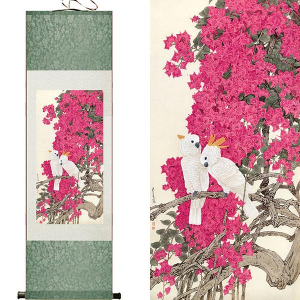 Weiße Vögel und rosa schöne Blumen-Superqualitäts-traditioneller chinesischer Kunst-Malerei-Innenministerium-Dekoration-chinesischer Malerei