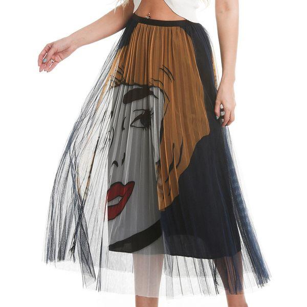 Cartoon Face Pattern Print Pleated Long Skirts Womens High Waist Elastic A Line Midi Skirt For Women 2019 Summer Quality Skirts