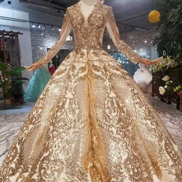 Luxury Floor Length Queen Prom Dresses Curve Shape Ball Gown Sparkly Golden Sequined Evening Party Dresses Glitter Gas Field Dinner Dress
