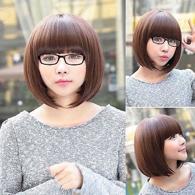 Fashion Womens Short Straight Hair Ladies Cosplay Party Costume Full Wigs Brown for women wig Cosplay Synthetic queen