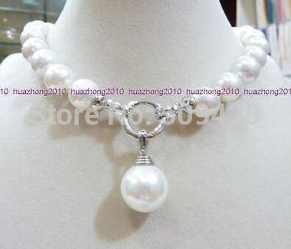 """best selling 12 MM blanco redondo SHELL Mar del Sur collar de perlas 18 """"+ 16mm colgante"""