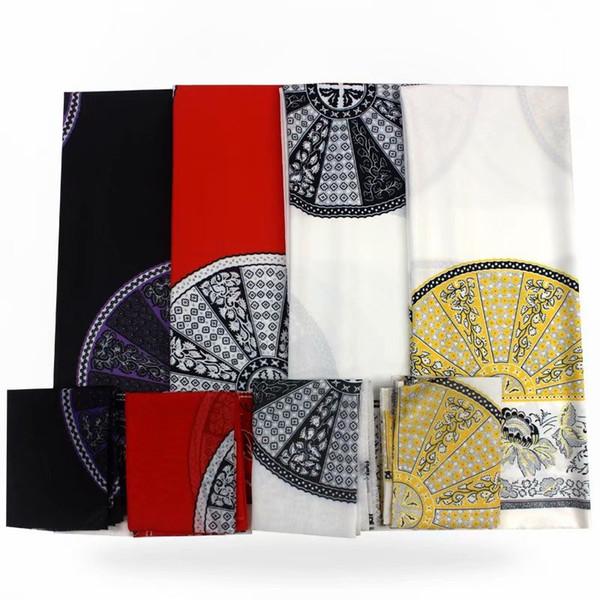 Cor amarela 2 + 4 metros de cetim de seda com tecido chiffon tecido africano macio para o vestido ankara estampas de cera africano niger