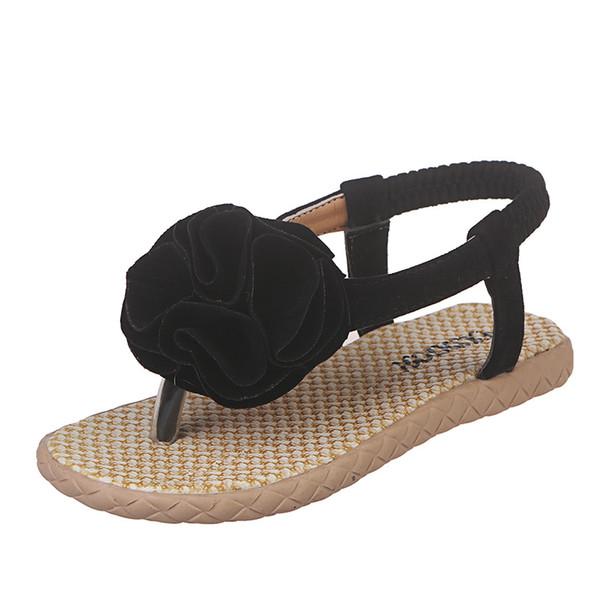 Summer Girls Sandals Girl Roman Style Flip Flops Kids Princess Flower Dress Shoes Children Elastic Band Beach Sandals