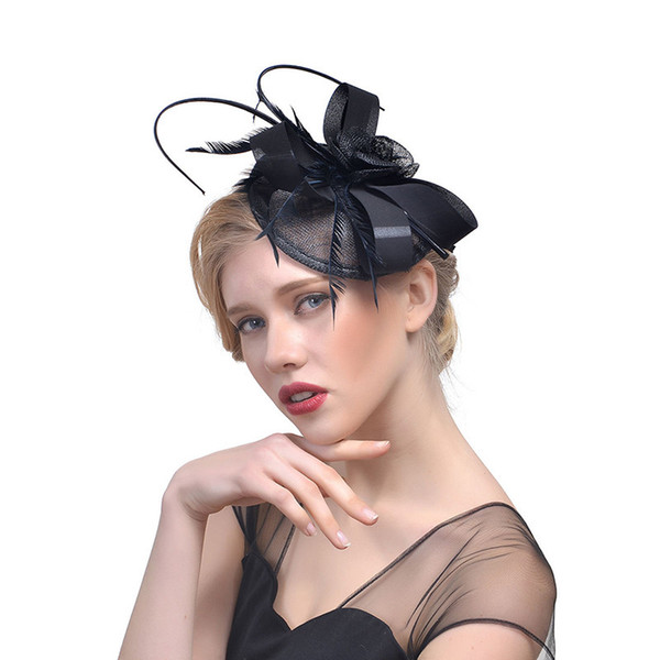 2019 Top Selling New Vintage Black Red Women Wedding Bridal Hats Party Evening Occasion Headwears In Fashion CPA1987
