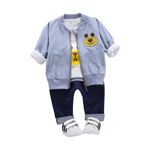 2019 New Children Girls Boys Clothing Sets Autumn Cartoon bear Coat T shirt 3 PCS Suits Clothes Baby Cotton Cartoon Tracksuits