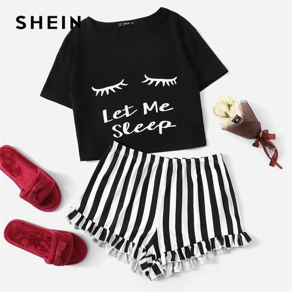 SHEIN Camiseta Gráfica Negra Pantalones Cortos A Rayas Con Volantes PJ Cuello Redondo Manga Corta Set 2018 Verano Mujer Patchwork Ropa de Dormir