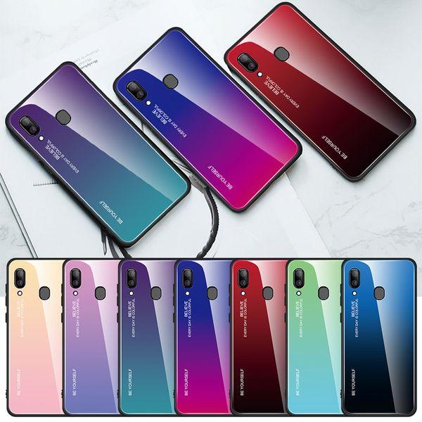 Custodia protettiva per telefono per Samsung Galaxy Note 10 Pro S10 5G S10e S9 Plus A30 A50 Cover posteriore in vetro temperato sfumato