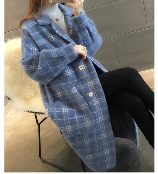 2019 Korean version of the handmade water velvet sweater women's jacket loose long-sleeved knit cardigan coat autumn and winter wool