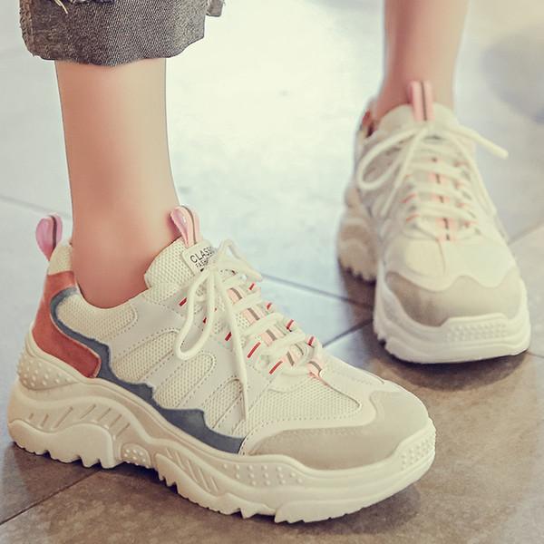 Bjakin Nova Tênis de Plataforma Mulheres Elegantes Sola Grossa Running Shoes Altura Crescente Chunky Sport Shoes Mulher Chaussures Femme