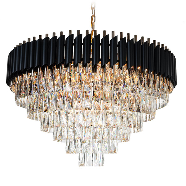 New Arrival K9 Crystal Chandelier Suspension Lighting Round Circle Luminaires Hanging Lustre for Restaurant Crystal American Style Lamp