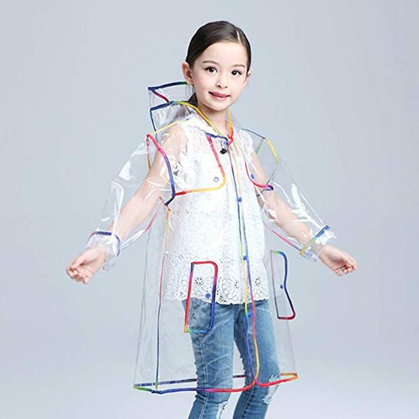 Çocuklar için şeffaf Yağmurluk Erkek yağmur ceket Yağmurluk Kapşonlu Açık Havada Temizle Su Geçirmez Çocuklar Kızlar Yürüyor çocuk Yağmurluklar Rainwear