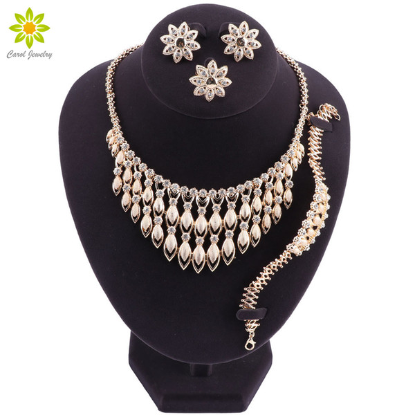 High Quality African Jewelry Suit Fashion Female Wedding Jewelry Gold Accessories Jewelry Necklace Earring Jewellery