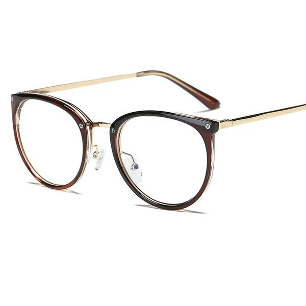 Elliptical metal retro art flat mirror fashion men and women decorative glasses frame student trend personality glasses frame.