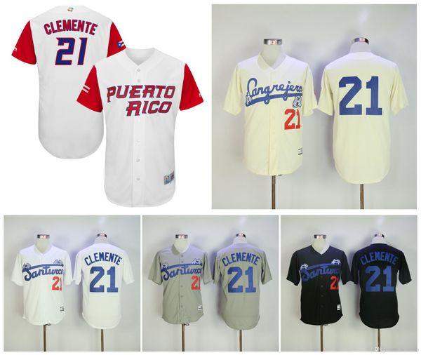 reputable site 922f4 2f573 2019 Puerto Rico Roberto Clemente Santurce Crabbers Puerto Rico Jerseys #21  Roberto Clemente Jersey Grey White Cream Stitched Retro Baseball From ...