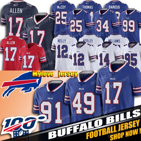 17 Josh Allen Jersey 49 Tremaine Edmunds Jersey Buffalo Football Bill Jersey 27 TreDavious Weiß 91 Oliver Trikots Marcell Dareus Hot Verkauf
