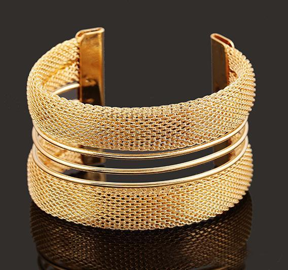 New ! Hot Fashion Fine Jewelry Bohemian Style Pure Metal wire Pierced 18K Gold Plated Silver Bracelets & Bangles For Women