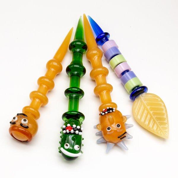 Komik Cam Dabber Dab Aracı Pyrex Renkli Yapraklar şekil yağ kuleleri Kuvars Çivi bong için Dab Sopa Oyma aracı ücretsiz kargo