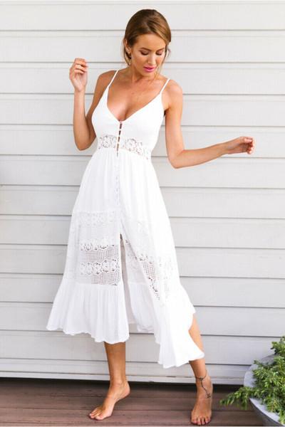 Women Dress 2019 Sexy Women Summer Vintage Lace Sundress Boho Long Maxi Evening Party Beach Dress Floral Long Dress