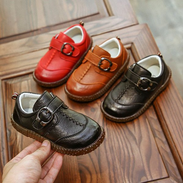 Kids Toddler Baby Little Boys Flats Brown Black Red England Leather Shoes For Boys School Shoes 1 2 3 4 5 6 7 Years Old New