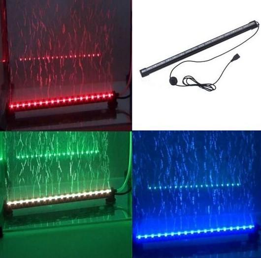 Control remoto RGB Burbuja de aire Luz de acuario LED Tanque de peces Lámpara de coral Tubo IP68 6W 18 LED 46 cm Barra de luz LED Sumergible Abajo Luz subacuática LED