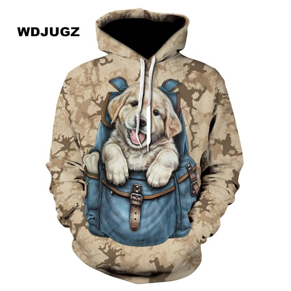 Unisex Hoodies 3d Sweatshirts Backpack cute puppy pattern Hoodie Couple Tracksuit Autumn Winter Hooded Hoody Tops Clothing S-6XL