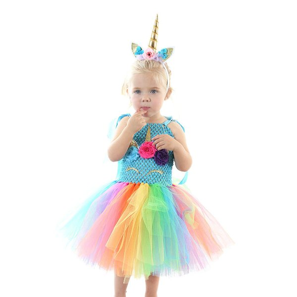 2019 INS Baby Girls Rainbow Skirt Children Cute Unicorn Princess Dresses Kids Lovely Cartoon Colorful Bubble Skirt Cosplay Prom Dresses