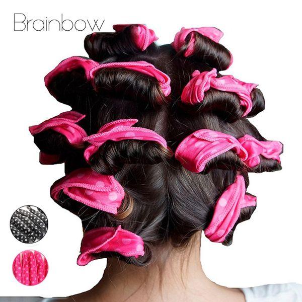 Beauty Health Brainbow 10pc Magische Schwammkissen Kissen Weiche Rolle Flexible Schaumgüter Haar Curlers Roller DIY Salon Haarpflege Styling Werkzeuge