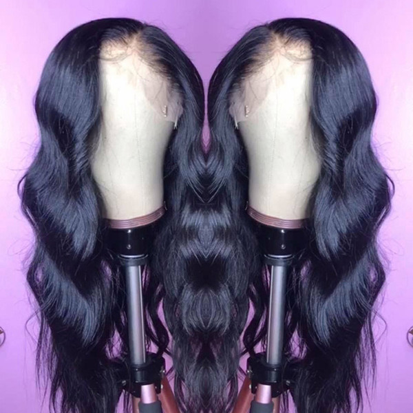 top popular Raw Indian Virgin Human Hair Lace Front Wig Body Wave 13x6 Lace Frontal Wigs Indian Body Wave Full Lace Human Hair Wigs 2019