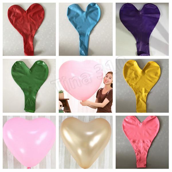 Globos de látex en forma de corazón de 36 pulgadas Globo de amor de 9 colores Globo de bola gigante Boda Día de San Valentín Decoración de recepción de boda T2I5078