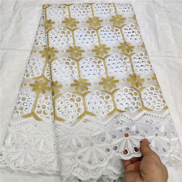 African Nigerian Dry-Spitze-Gewebe Schweizer Voile-Spitze in der Schweiz Dubai 100% reiner Baumwolle für das Nähen Kleid Weißgold