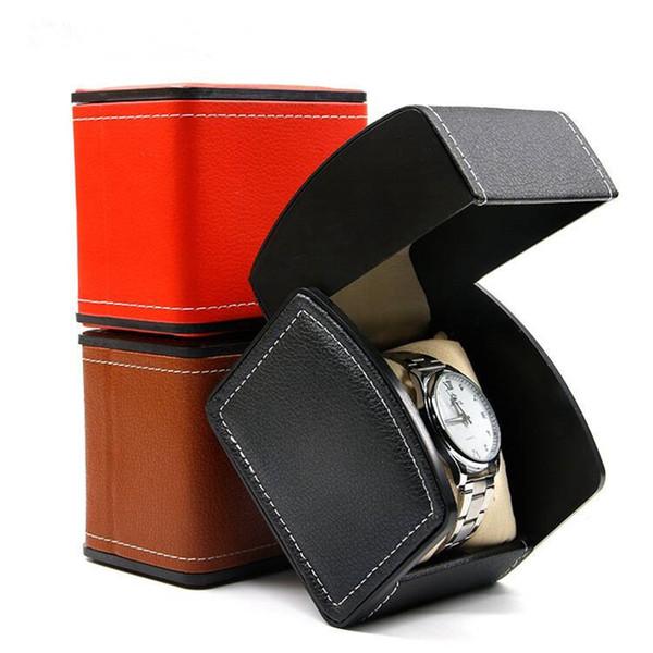 Leder-Uhr-Box mit Pillow-Uhr-Display-Box Schmuck-Speicher-Paket Fall Luxus-3 Farbe HHA1062