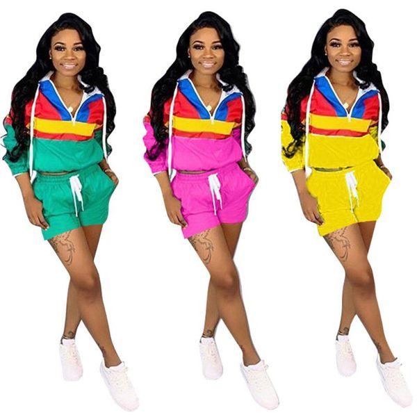 Frühling Sommer Patchwork Farbe Spiel Trainingsanzug Frauen Langarm Reißverschluss V-ausschnitt Hoodies + Shorts Hosen 2 Stück Set Lässige Sportanzug A3193