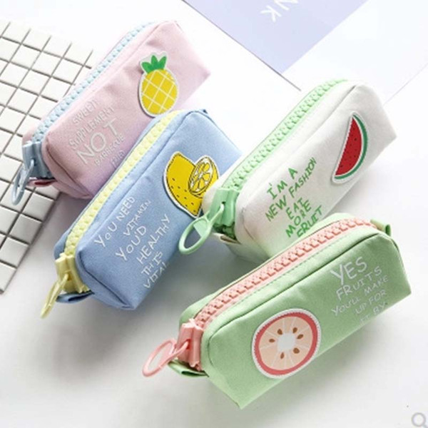 Big Zipper Fruit Pencil Case Cute Unicorn Dog Large Capacity Canvas School Pencil Bag pen Pouch School Supplies Zakka