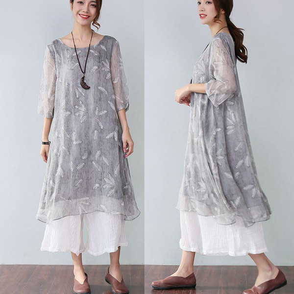 2018 Summer Printing Elegant Midi Dresses For Women New Half Sleeves Round Neck Loose Grey Dress Feather Printed Pattern