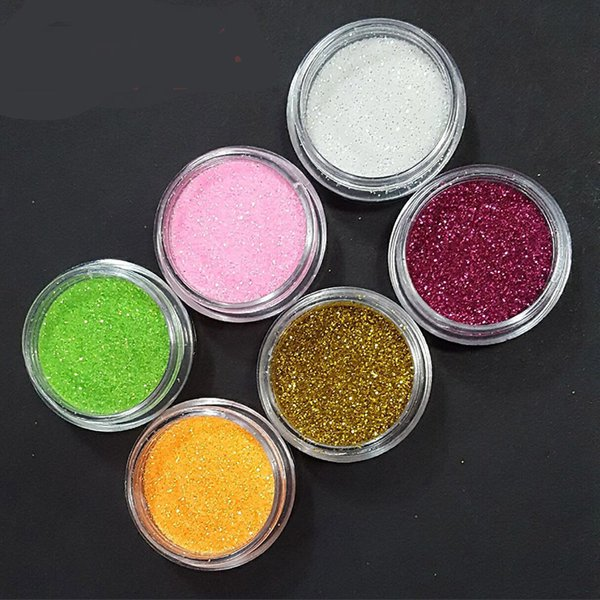 6Colors/Set Nails Art Chrome DIY Color Loose Resin Glitter Nail Pigment Holographic Dust Powder Nail Decoration