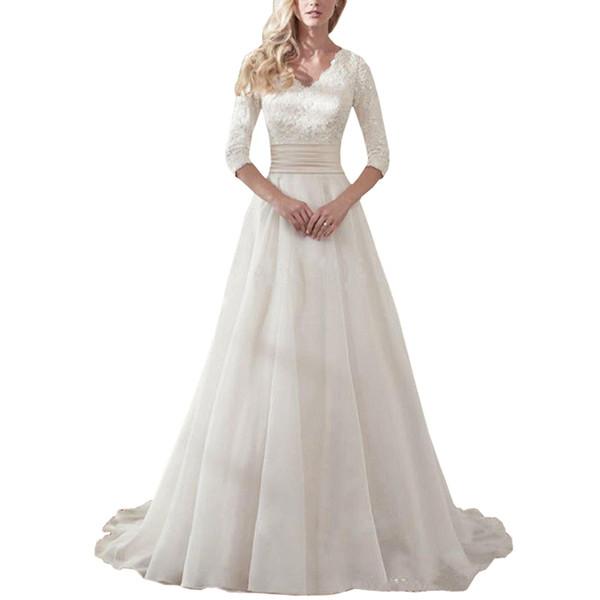 Wholesale Luxury Lace V-neck Elegant Princess Wedding Dress 2019 Long Sleeves Appliques Celebrity Mariage Ball Gown vestido De Noiva