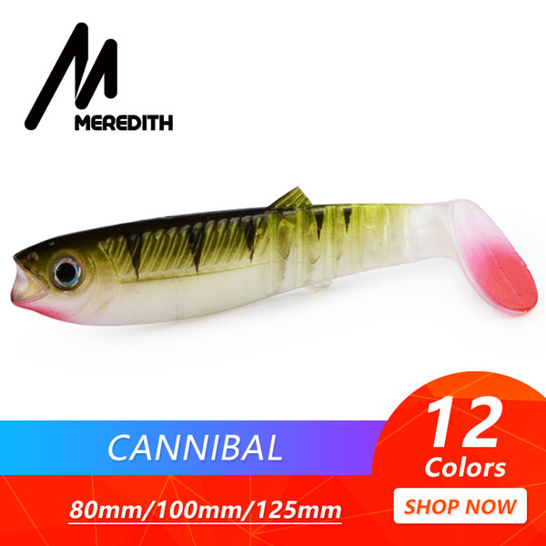 3 pcsMeredith Cannibal 80mm 100mm 125mm Wobblers artificiali Pesca esche morbide Silicone Shad Worm Bass Baits C19041201