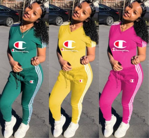 top popular Champion Womens outfits short sleeve tracksuit 2 piece set jogging sportsuit shirt leggings outfits sweatshirt pants sport suit klw1023 2019