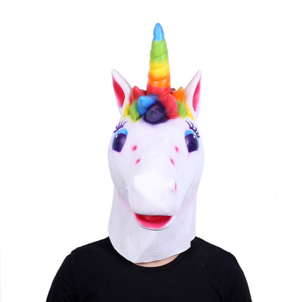 Hot Rainbow horse Unicorn Masque full Face Halloween Novelty Creep Head Lovely antique Latex Costume Theater Prop Party Christmas cosplay
