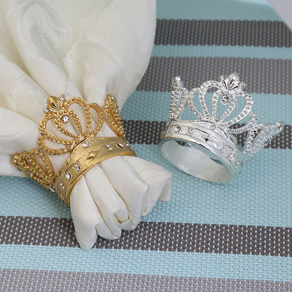 Hollowing Out Metal Crown Shape With Imitation King Hat Napkin Ring Diamond Napkin Holder For Home Swing Table 10hjb1
