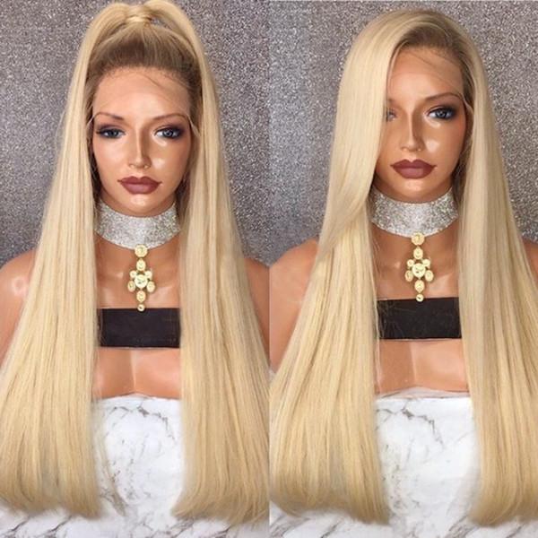 Silky droite Ombre perruque blonde Glueless avant de dentelle perruque avec bébé cheveux synthétiques perruques avec Roots sombre pour les femmes noires