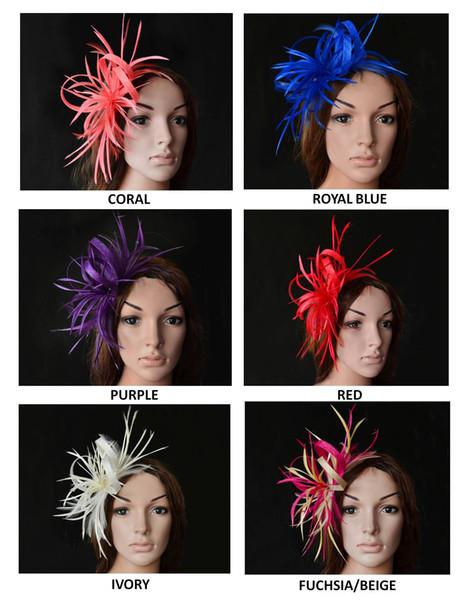 NEW DESIGN High quality elegant feather fascinator sinamay ribbon bridal headpiece Royal wedding hat for Kentucky Derby church prom