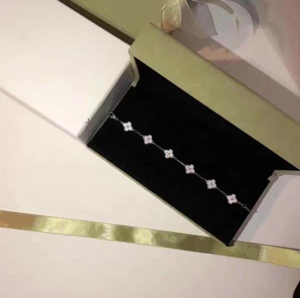 Diseñador Vintage Alhambra Joyería Pulsera 925 material de plata esterlina con diamantes completos de cuatro hojas pulsera trébol pulsera de la boda de las mujeres