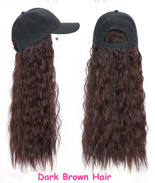 Baseball hat Dark brown curly hair